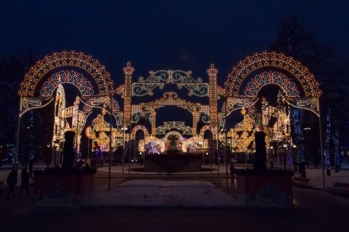 Illuminations de Noël entre le Bolchoï et le Kremlin