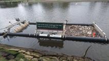 Installations devenues nécessaires pour éviter que tous les déchets partent à la mer... Bien surveillées par les hérons et cormorans ! Yarra River, Melbourne