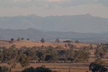 Vue sur les montagnes depuis la ferme, un paysage presque africain - Glenrowan, Victoria