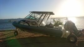 Un des bateaux du resort, celui là est un véhicule amphibie ! Quoin Island