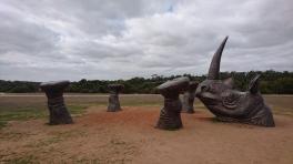 Shandu, sculpture symbole de la conservation des rhinos. Monarto zoo
