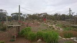 Les deux tiers de l'enclos des chimpanzés, Monarto zoo