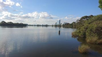 La Swan River, avec en fond le Crown Hotel & Casino, Perth