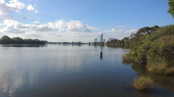 La Swan River, avec en fond le Crown Hotel & Casino, Perth